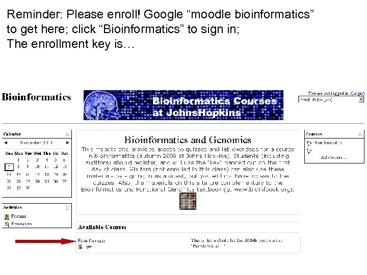 """Reminder: Please enroll! Google """"moodle bioinformatics"""" to get here; click """"Bioinformatics"""" to sign in;"""