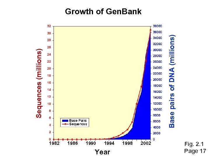 Sequences (millions) Base pairs of DNA (millions) Growth of Gen. Bank 1982 1986 1990