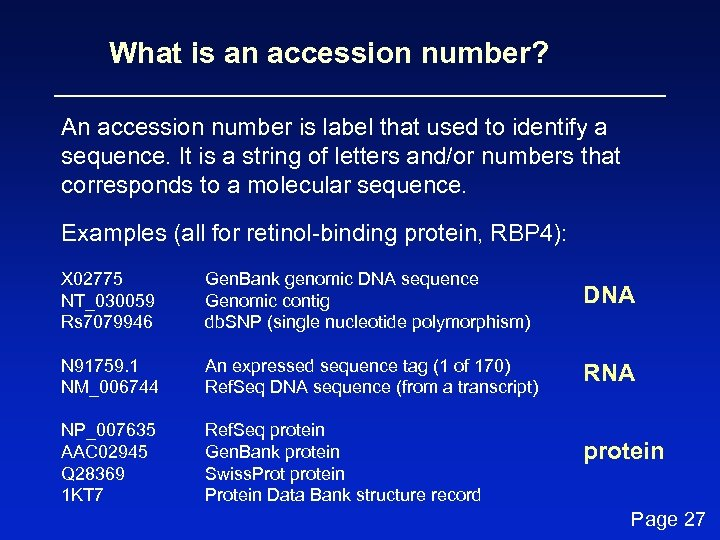 What is an accession number? An accession number is label that used to identify