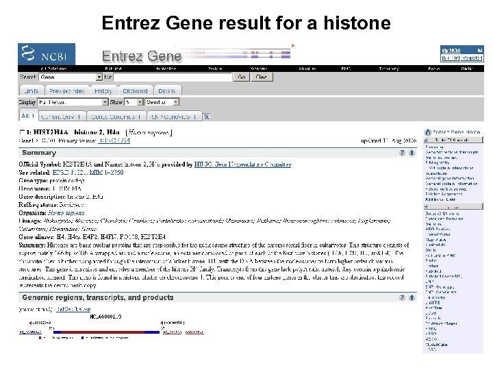 Entrez Gene result for a histone