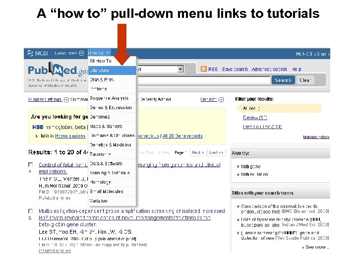 """A """"how to"""" pull-down menu links to tutorials"""