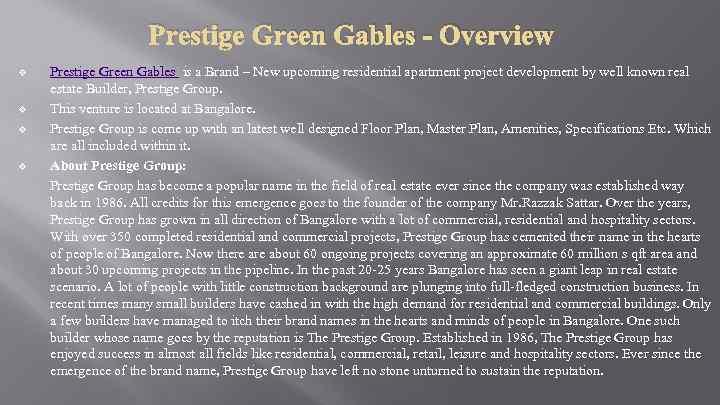 Prestige Green Gables - Overview v v Prestige Green Gables is a Brand –