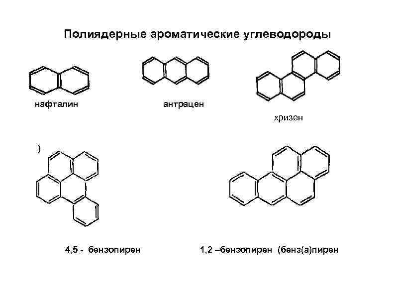 Полиядерные ароматические углеводороды нафталин антрацен хризен ) 4, 5 - бензопирен 1, 2 –бензопирен