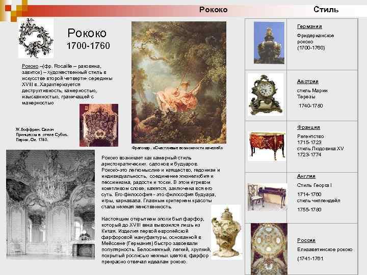 Рококо Стиль Рококо Германия Фридерианское рококо (1700 -1760) 1700 -1760 Рококо –(фр. Rocaille –