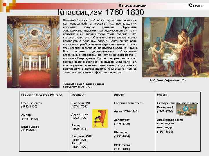 Классицизм Стиль Классицизм 1760 -1830 Название