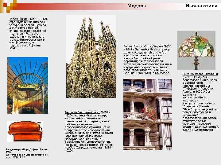 Модерн Иконы стиля Эктор Гимар (1867 - 1942), французский архитектор, утвердил во французской архитектуре