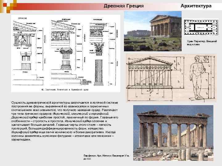 Древняя Греция Архитектура Храм Периптер. Внешний вид и план Сущность древнегреческой архитектуры заключается в
