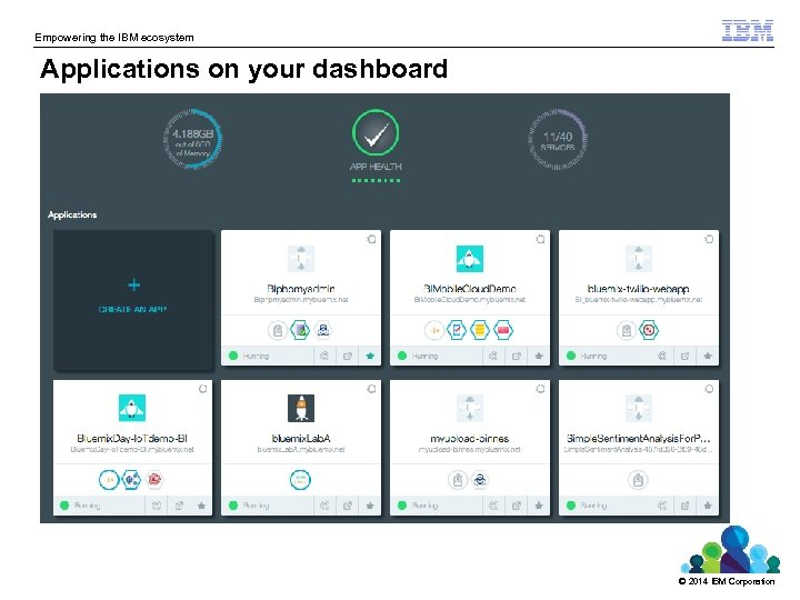 Empowering the IBM ecosystem Applications on your dashboard © 2014 IBM Corporation