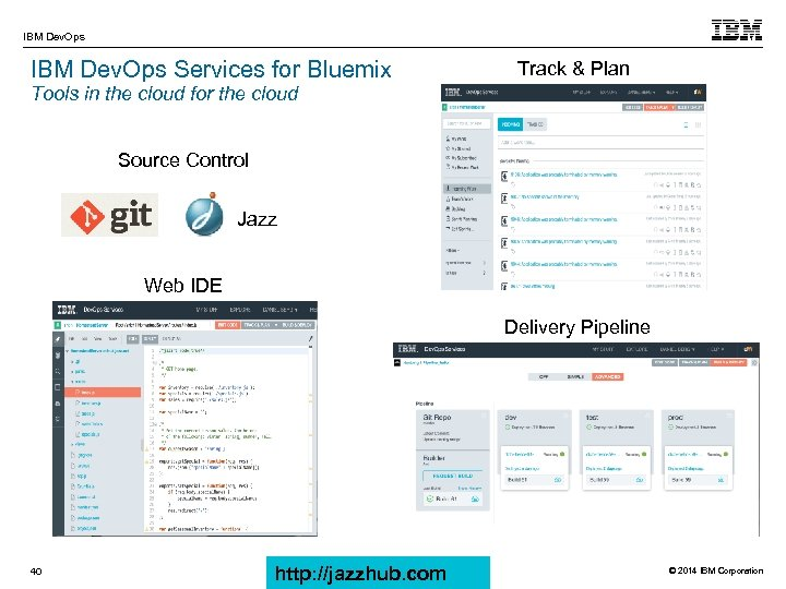 IBM Dev. Ops Services for Bluemix Track & Plan Tools in the cloud for