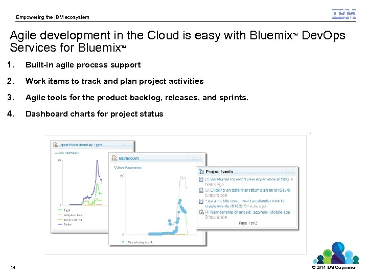 Empowering the IBM ecosystem Agile development in the Cloud is easy with Bluemix Dev.