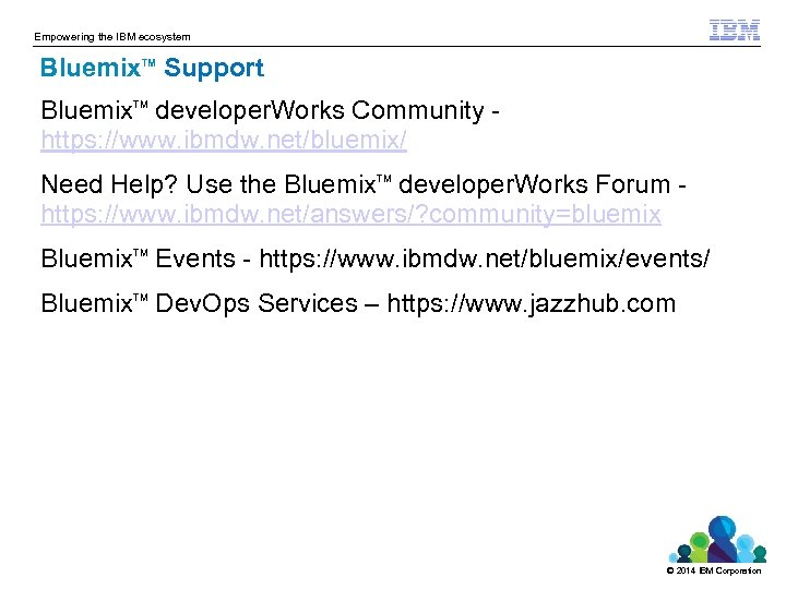 Empowering the IBM ecosystem Bluemix Support TM Bluemix developer. Works Community https: //www. ibmdw.