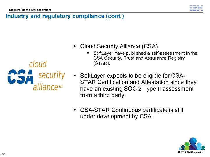 Empowering the IBM ecosystem Industry and regulatory compliance (cont. ) • Cloud Security Alliance