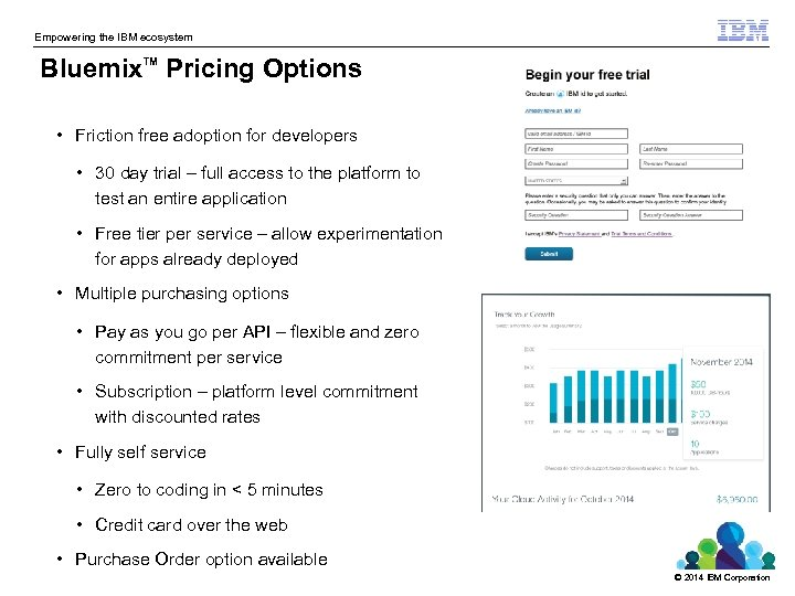 Empowering the IBM ecosystem Bluemix Pricing Options TM • Friction free adoption for developers