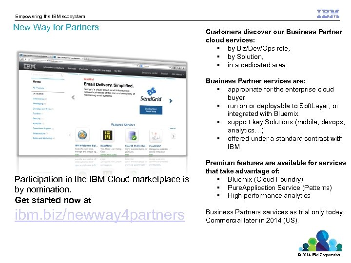 Empowering the IBM ecosystem New Way for Partners Customers discover our Business Partner cloud