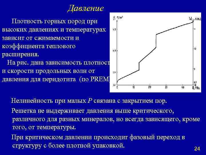 Давление Плотность горных пород при высоких давлениях и температурах зависит от сжимаемости и коэффициента