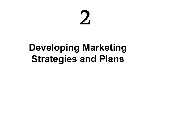 2 Developing Marketing Strategies and Plans