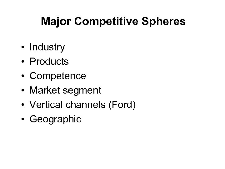 Major Competitive Spheres • • • Industry Products Competence Market segment Vertical channels (Ford)