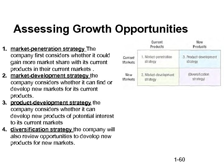 Assessing Growth Opportunities 1. market-penetration strategy The company first considers whether it could gain