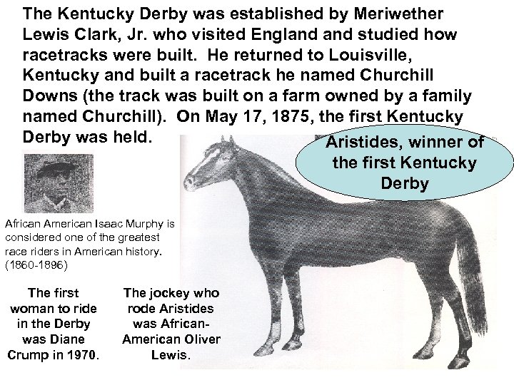 The Kentucky Derby was established by Meriwether Lewis Clark, Jr. who visited England studied
