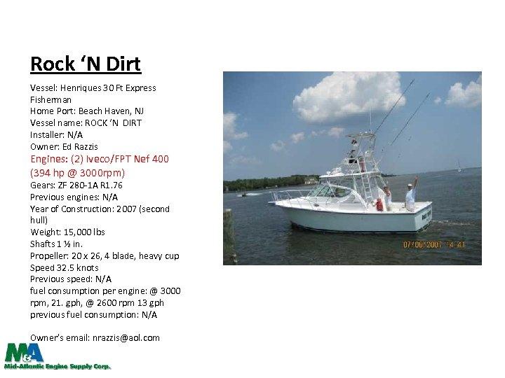 Rock 'N Dirt Vessel: Henriques 30 Ft Express Fisherman Home Port: Beach Haven, NJ