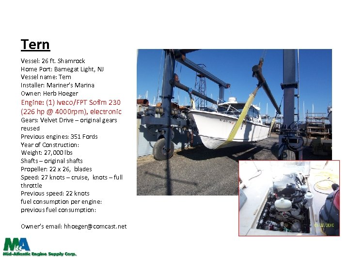 Tern Vessel: 26 ft. Shamrock Home Port: Barnegat Light, NJ Vessel name: Tern Installer: