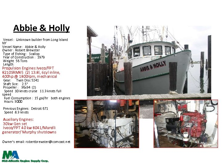 Abbie & Holly Vessel : Unknown builder from Long Island NY Vessel Name :