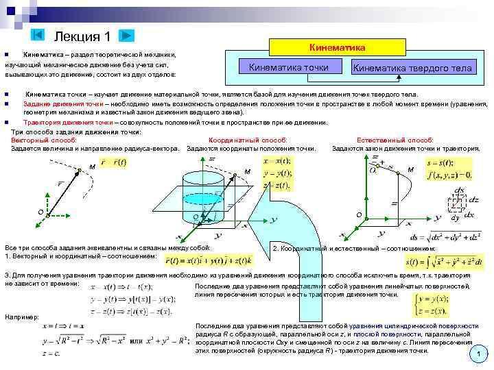 Лекция 1 Кинематика – раздел теоретической механики, изучающий механическое движение без учета сил, вызывающих