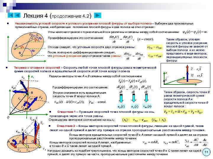 Лекция 4 (продолжение 4. 2) n Независимость угловой скорости и углового ускорения плоской фигуры