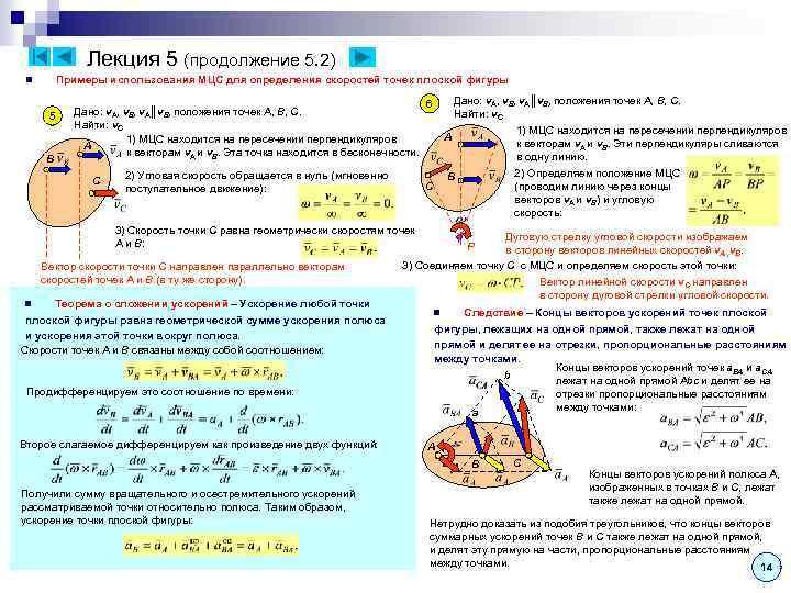 Лекция 5 (продолжение 5. 2) Примеры использования МЦС для определения скоростей точек плоской фигуры