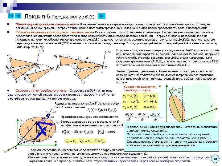 Лекция 6 (продолжение 6. 3) Общий случай движения твердого тела – Положение тела в