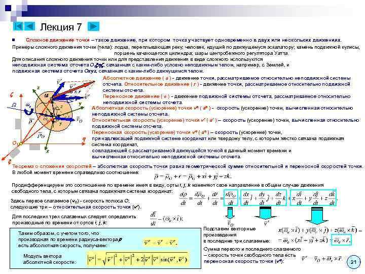 Лекция 7 Сложное движение точки – такое движение, при котором точка участвует одновременно в