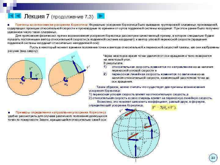 Лекция 7 (продолжение 7. 3) ■ Причины возникновения ускорения Кориолиса: Формально ускорение Кориолиса было