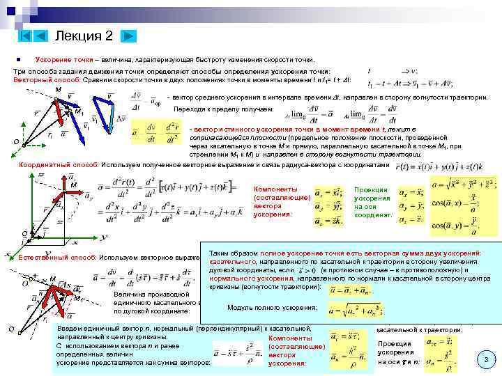 Лекция 2 Ускорение точки – величина, характеризующая быстроту изменения скорости точки. n Три способа
