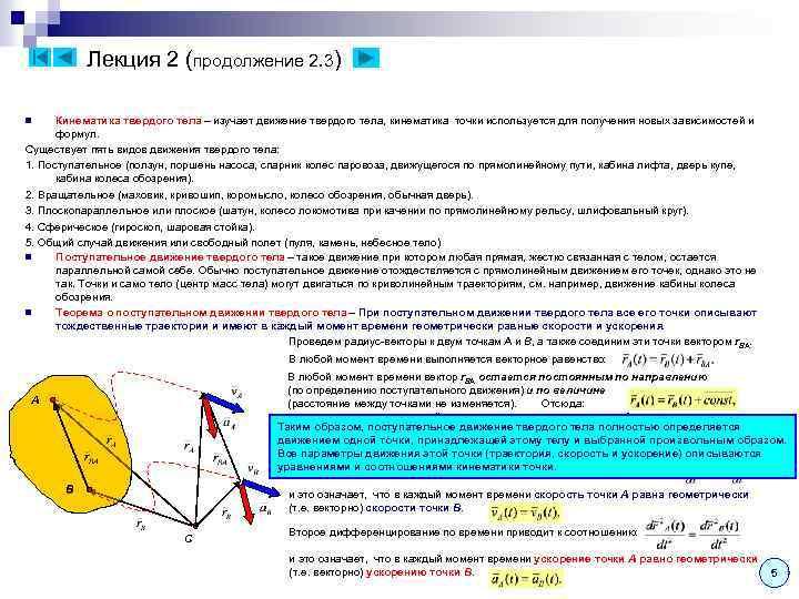 Лекция 2 (продолжение 2. 3) Кинематика твердого тела – изучает движение твердого тела, кинематика