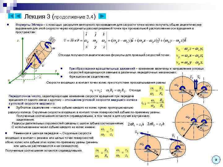 Лекция 3 (продолжение 3. 4) n Формулы Эйлера – с помощью раскрытия векторного произведения