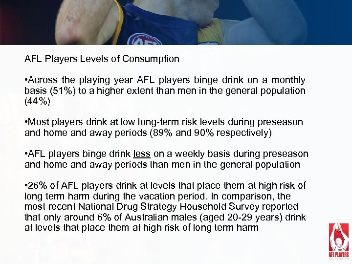 AFL Players Levels of Consumption • Across the playing year AFL players binge drink