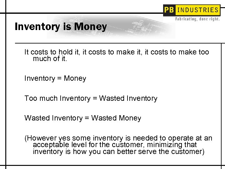 Inventory is Money It costs to hold it, it costs to make too much