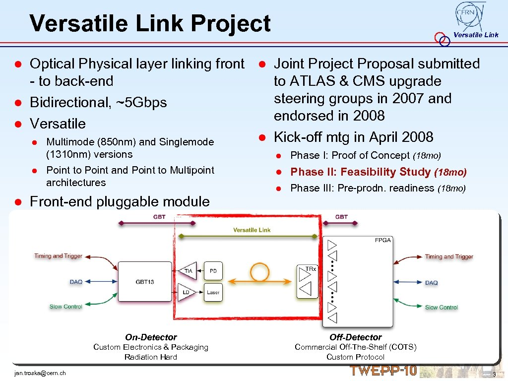 Versatile Link Project Versatile Link ● Optical Physical layer linking front ● Joint Project