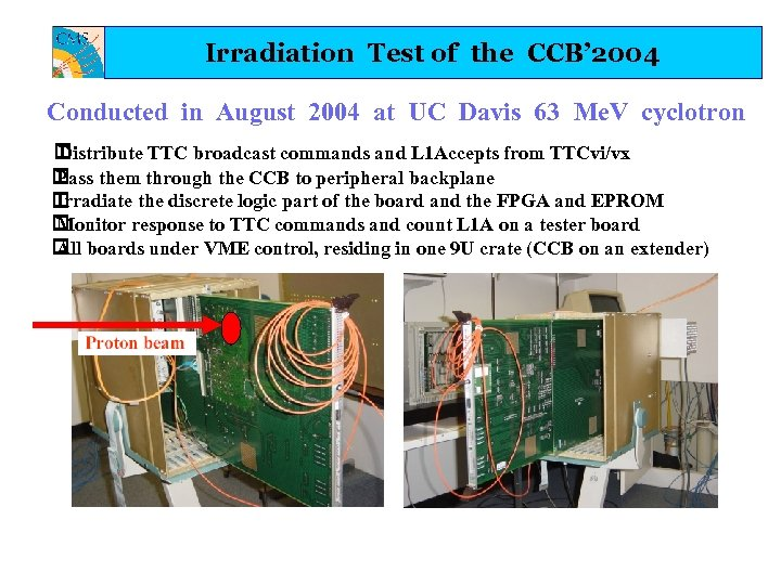 Irradiation Test of the CCB' 2004 Conducted in August 2004 at UC Davis 63