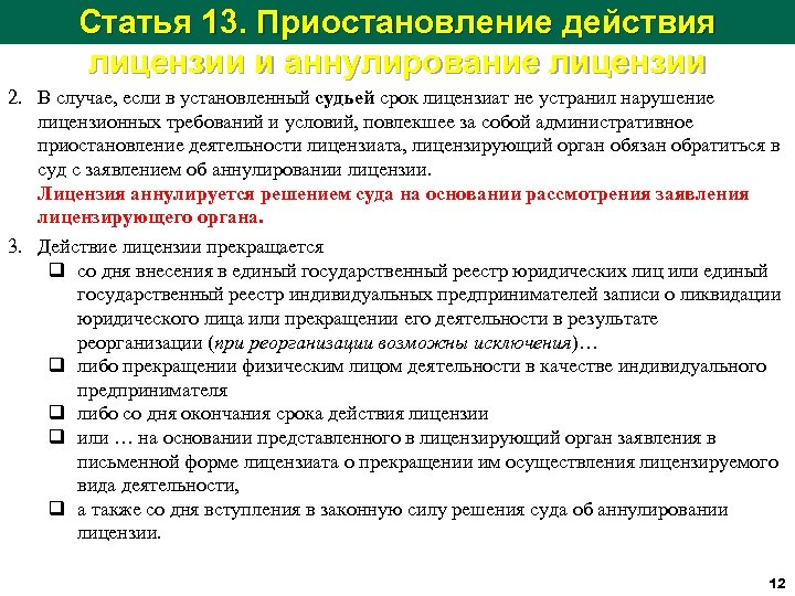 Статья 13. Приостановление действия лицензии и аннулирование лицензии 2. В случае, если в установленный
