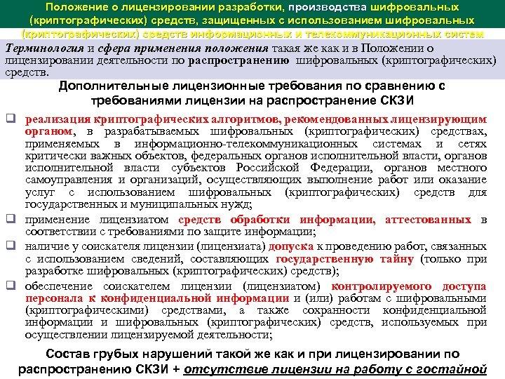Положение о лицензировании разработки, производства шифровальных (криптографических) средств, защищенных с использованием шифровальных (криптографических) средств