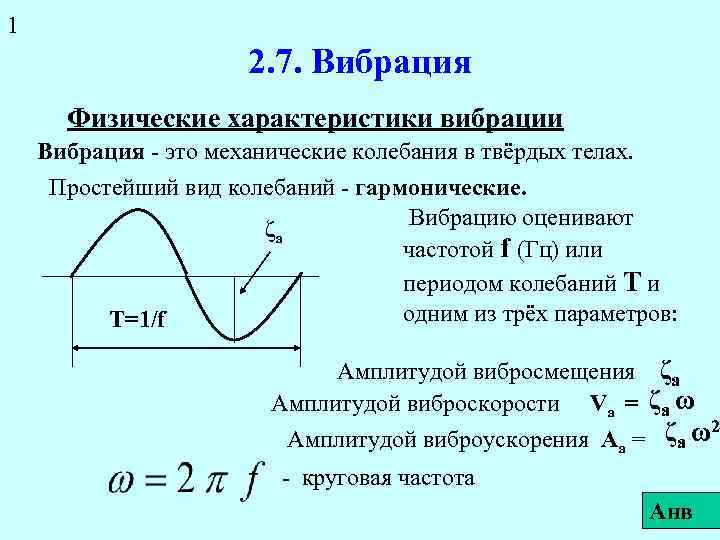1 2. 7. Вибрация Физические характеристики вибрации Вибрация - это механические колебания в твёрдых
