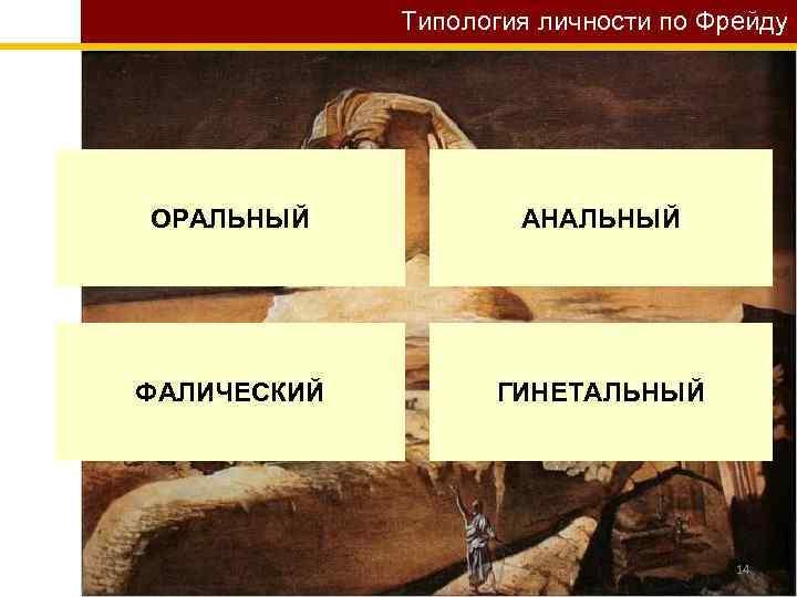 Типология личности по Фрейду ОРАЛЬНЫЙ АНАЛЬНЫЙ ФАЛИЧЕСКИЙ ГИНЕТАЛЬНЫЙ 14
