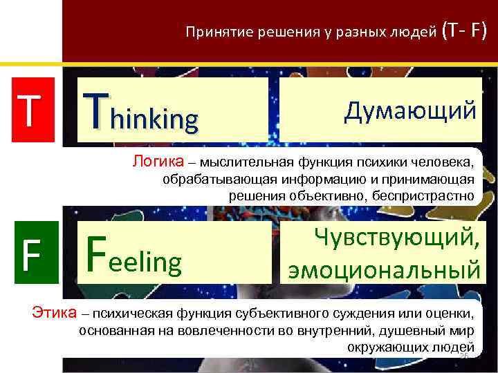 Принятие решения у разных людей (T- T Thinking F) Думающий Логика – мыслительная функция