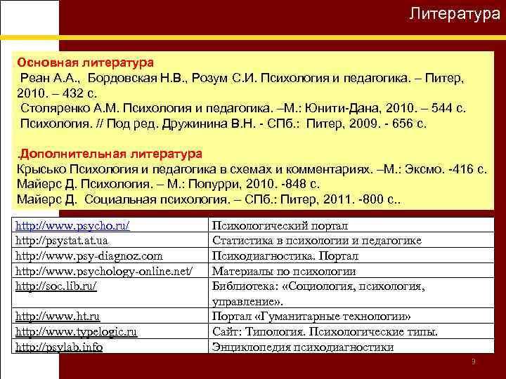 Литература Основная литература Реан А. А. , Бордовская Н. В. , Розум С. И.