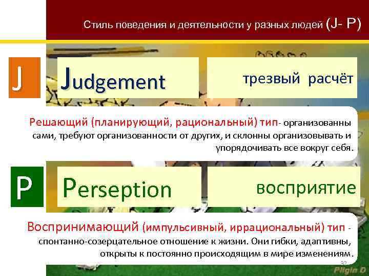 Стиль поведения и деятельности у разных людей (J- P) J Judgement трезвый расчёт Решающий