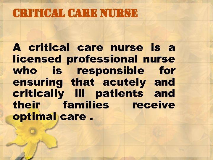 critical care nurse A critical care nurse is a licensed professional nurse who is