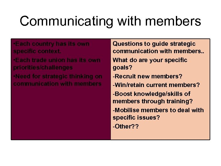 Communicating with members • Each country has its own specific context. • Each trade