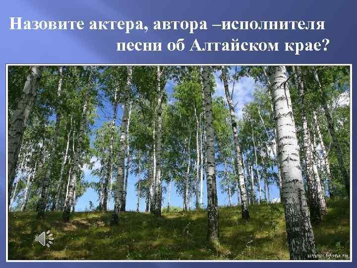 Назовите актера, автора –исполнителя песни об Алтайском крае?