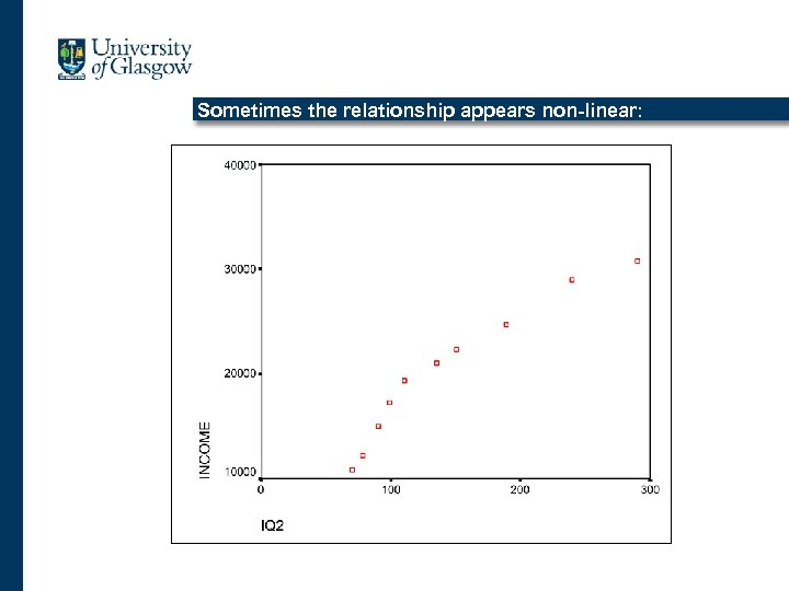 Sometimes the relationship appears non-linear: